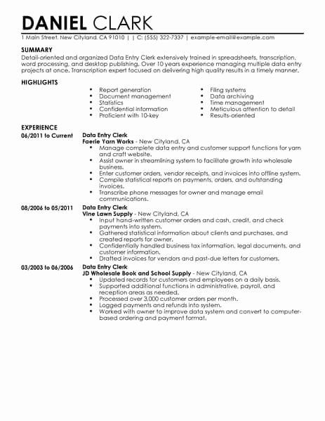 Data Entry Resume Example Awesome Best Data Entry Clerk Resume Example In 2020 Customer Service Resume Customer Service Resume Examples Retail Resume Template