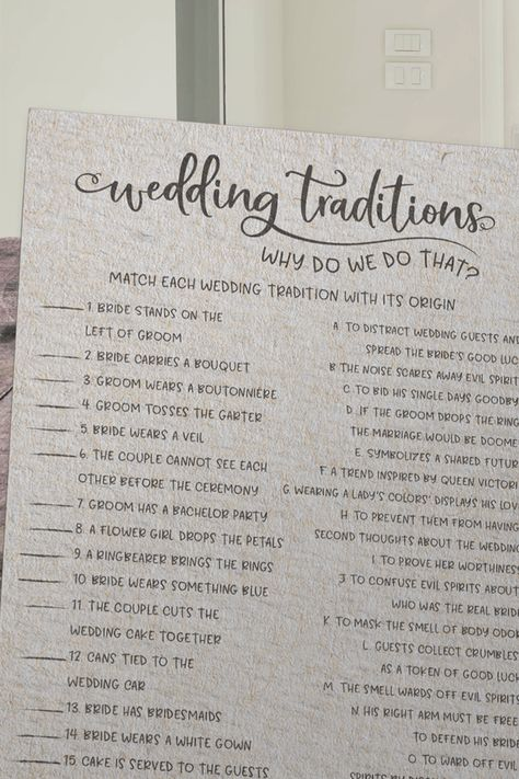 Grey Wedding Traditions Guessing Game - Why Do We Do That? Play this fun and unique bridal shower game with your friends and family by having them match each wedding tradition with its origin. You may be surprised by how some of these wedding traditions began! The answer key for this game is included