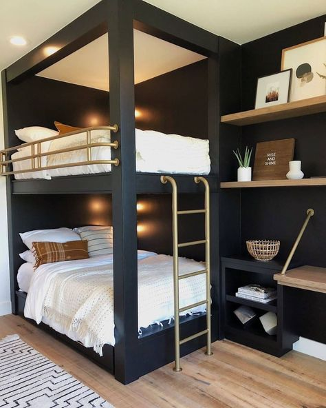 The chicest bunk beds we've ever seen, featuring our Satellite rug. Design by 📷 by via 📷 Bunk Bed Rooms, Bunk Beds Built In, Cool Bunk Beds, Black Bunk Beds, Modern Bunk Beds, Cabin Bunk Beds, Build In Bunk Beds, Amazing Bunk Beds, Bunk Beds For Boys Room
