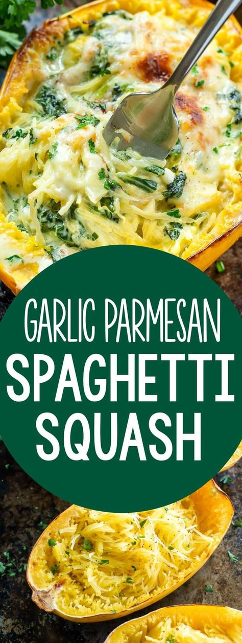 This crazy delicious garlic parmesan spinach stuffed spaghetti squash is one of the most popular recipes on my recipe blog -- and for good reason too! With over 100 rave reviews, it's a must try for dinner tonight!