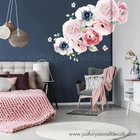 large flower set - flower wall decal, floral wall decal, watercolor
