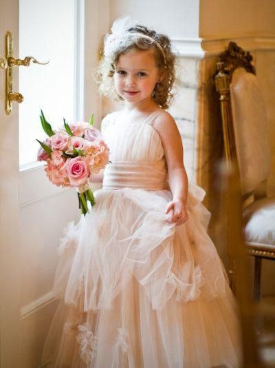 78a1cec967 Long Tulle Cheap Rustic Blush Pink Cute Flower Girl Dresses ARD1274 ...