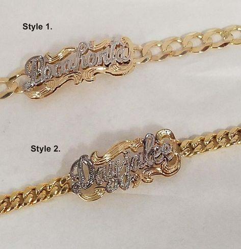 Cuban link name bracelet plate name bracelet