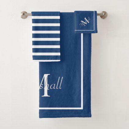 Modern Navy Blue Monogram With Stripes Bath Towel Set Zazzle Com