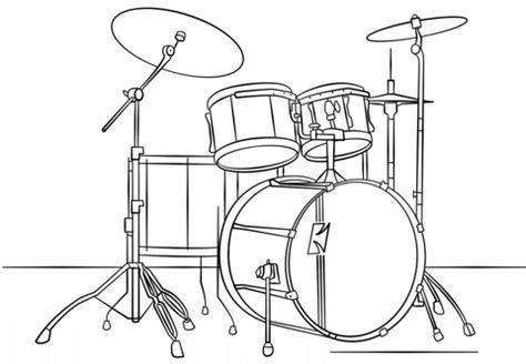 Drum Kit Coloring Page From Musical Instruments Category Select