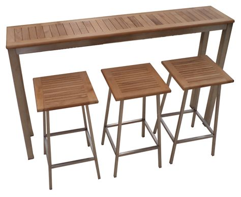 Stainless Steel Teak Bar Table Ascot