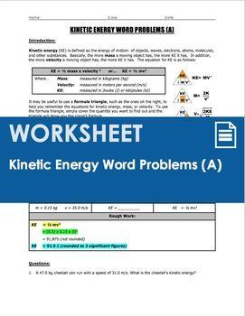 Worksheet Kinetic Energy Ke Word Problems Part 1 Word Problems Gravitational Potential Energy Potential Energy