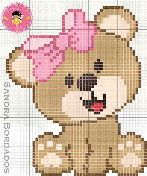 Ursinha Urso Ponto Cruz Desenhos Ponto Cruz Bordado Ponto Cruz