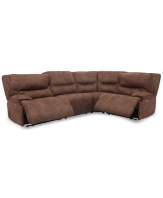 Furniture Felyx 4 Pc Fabric Sectional Sofa With 2 Power Recliners Power Headrests And Usb Power Outlet Reviews Furniture Macy S Fabric Sectional Sofas Fabric Sectional Power Recliners