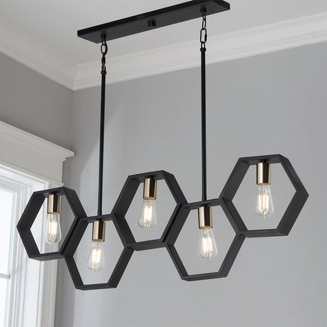 Modern Hexagon Linear Chandelier