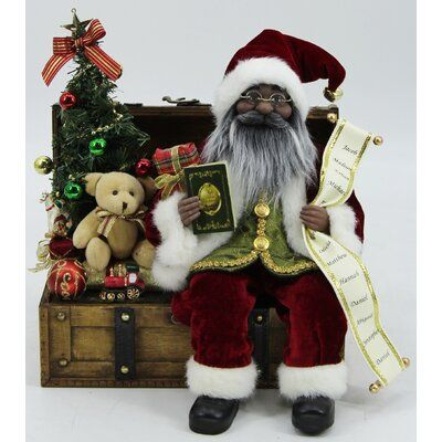 The Holiday Aisle Christmas African American Santa On Wood Chest Loaded With Toys Figurine Black Santa Black Christmas Decorations Christmas Figurines