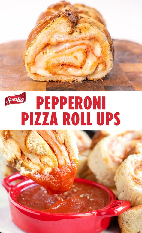 Pepperoni Pizza Roll Ups: Kids find this after school treat as fun to make as it is to eat! These Pepperoni Pizza Roll Ups are made with Sara Lee Artesano Bakery Bread, marinara sauce, pepperoni, Mozzarella, and an herb butter spread for extra yum.