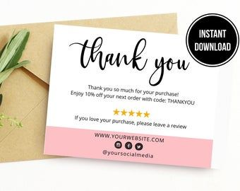 Diy Printable Thank You Card For Your Order Small Business Card Add Logo Social Media Icons Instagram Poshmark Etsy Website Email Customer Card Printable Thank You Cards Business Thank You Cards