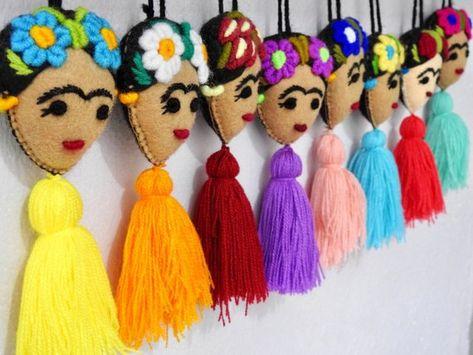 Handmade felt Frida with pom poms and tassel/ Embroidered Frida Kahlo pompom/ dia de muertos / cinco