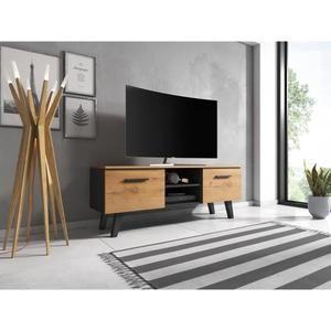 Vivaldi Meuble Tv Nord 140 Cm Noir Kraft Or Style