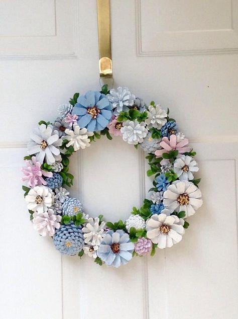 Summer Pinecone Zinnia Wreath Crafts Pine Cone
