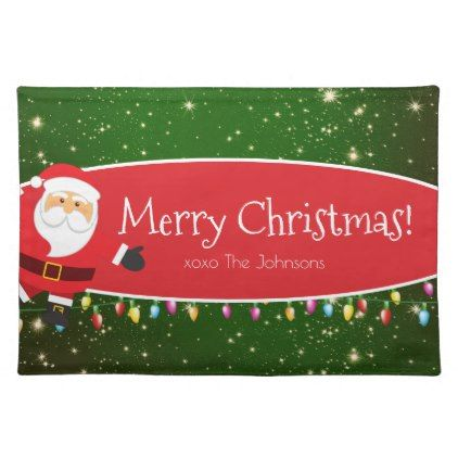 Fun Merry Christmas Santa Last Name Red And Green Cloth Placemat Zazzle Com Merry Christmas Santa Merry Christmas Family Merry Christmas