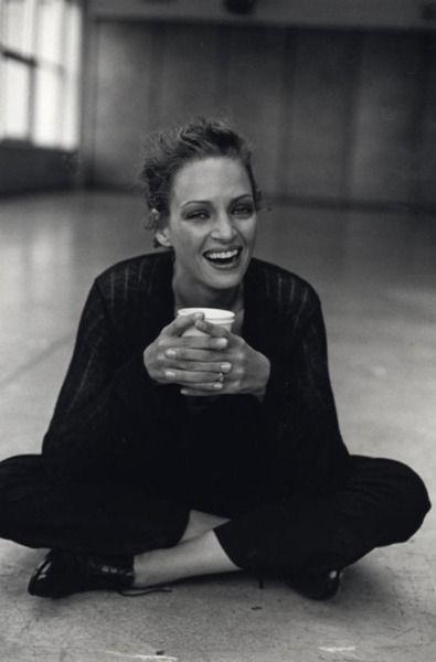 Uma Thurman with a double cup=#tea. #celebrities #tea