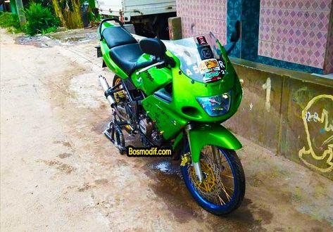 Modifikasi Motor Kawasaki Ninja R Rr Warna Hijau Velg Biru