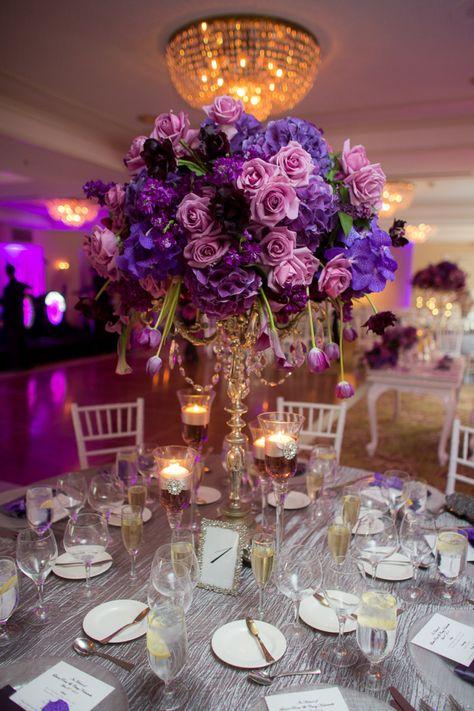 A Regal Purple California Wedding From The Youngrens photography - purple wedding centerpiece flower idea