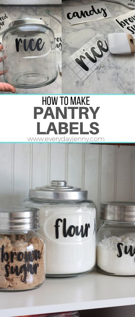 Tutorial on how to make pantry labels with your Cricut machine. This pin was made in partnership with JOANN Tutorial on how to make pantry labels with your Cricut machine. This pin was made in partnership with JOANN Kitchen Jar Labels, Pantry Labels, Canning Labels, Labels For Jars, Canning Recipes, Organizing Labels, Diy Storage Labels, Diy Label, Storage Containers