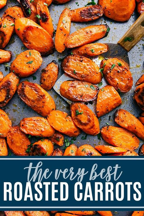 roasted carrots make the perfect side dish to just about any meal. Roasting at a high temperature brings out their natural sweetness and gives them the perfect caramelized edges and tender-crisp texture. Both a sweet and a savory recipe included. Veggie Side Dishes, Side Dish Recipes, Food Dishes, Dinner Recipes, Healthy Side Dishes, Christmas Vegetable Side Dishes, Healthy Dinner Sides, Roast Dinner Side Dishes, Easy Side Dishes