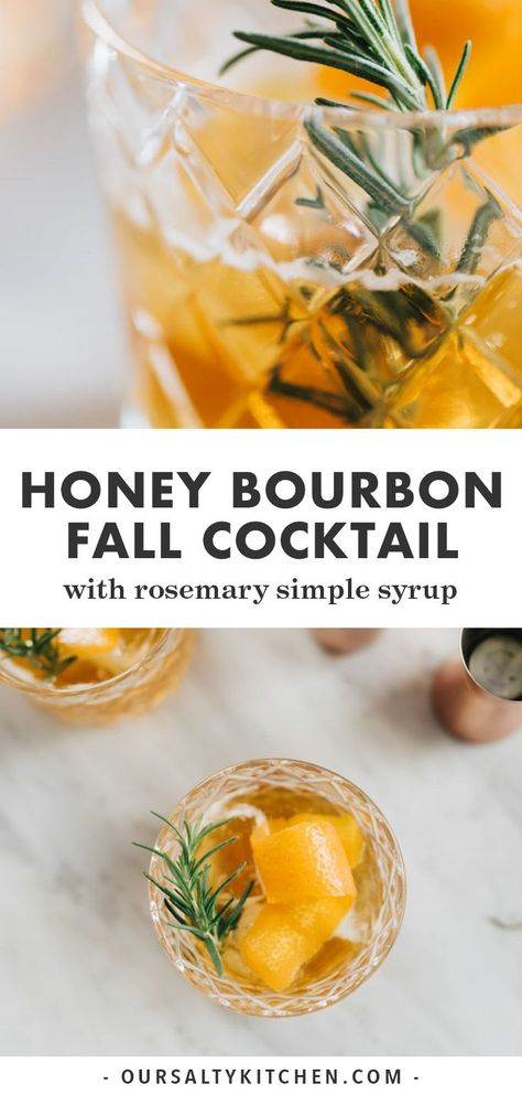This honey bourbon cocktail is an easy and perfectly seasonal winter cocktail. M… Dieser Honig-Bourbon-Cocktail ist ein einfacher und perfekt Bourbon Cocktails, Winter Cocktails, Cocktail Syrups, Beach Cocktails, Lemonade Cocktail, Cocktail Menu, Winter Drinks, Thanksgiving Cocktails, Cocktail Recipes For Fall