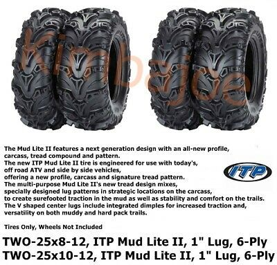 Full set of Maxxis Zilla 25x8-12 and 25x10-12 ATV Mud Tires 4