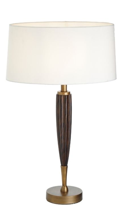 Rv Astley Girona Wood And Antique Brass Table Lamp Table