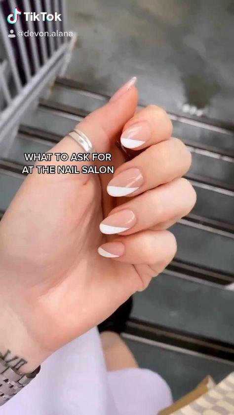 Diagonal french manicure inspo. Nail inspo. Minimal nails. Nail design