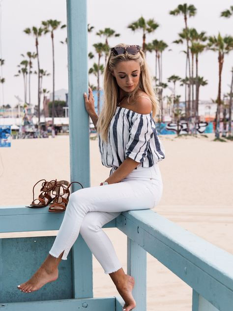 Mirror Santa Monica's chic beach vibe with wardrobe staples like light-colored bottoms for a spring/summer-friendly look. #stylespiration #OOTD
