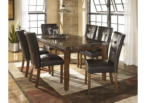 Lacey Rectangular Dining Table W 6 Medium Brown Chairs Signature