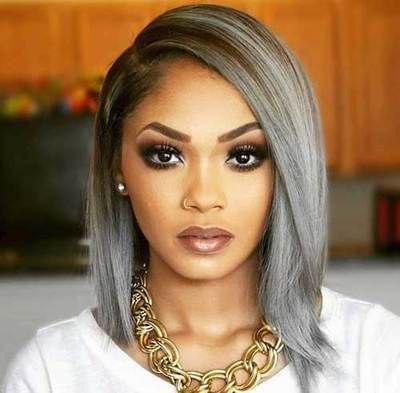 Grey Hair Silver Hair Straight Bob Wigs For Black Women Lace Front Wigs Human Hair Wigs African American Black Gir Womens Hairstyles Hair Styles Wig Hairstyles