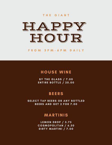 Happy Hour Menu Template Fresh Customize 286 Drink Menu Templates Online Page 7 Canva In 2020 Happy Hour Menu Menu Template Happy Hour Beer