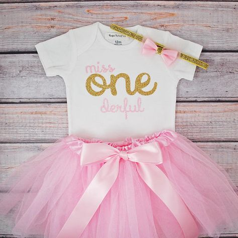 Miss One Derful First Birthday Outfit Girl Pink And Gold Birthday
