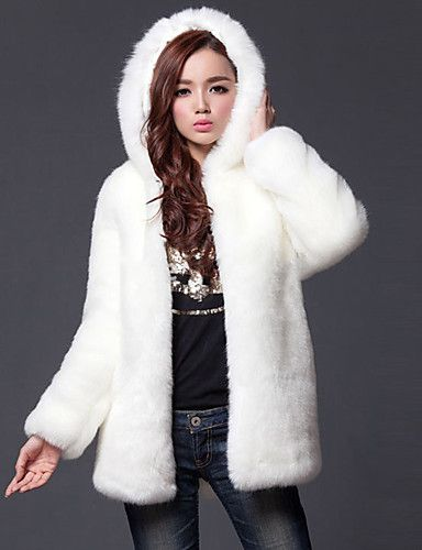 686173301a8   75.99  Women s Going out Simple   Casual Fall   Winter Plus Size Regular Fur  Coat