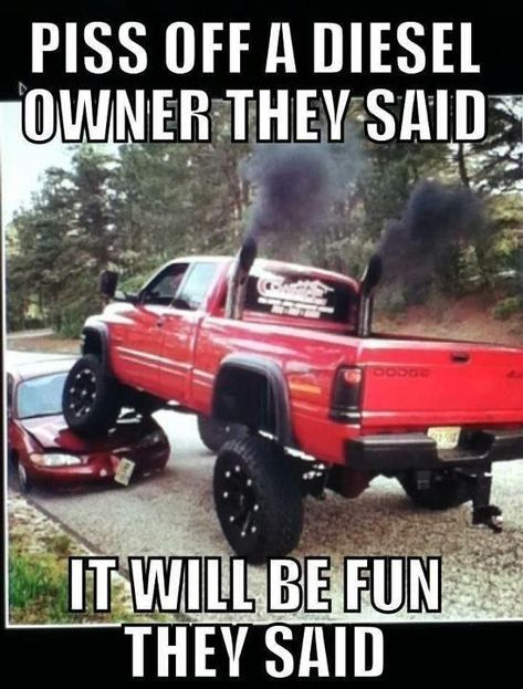 Haha i love diesels i left the rest of the post - ha ha ha. The red Cummins is so beautiful! Why would you ever make them mad? If I knew someone with a Dodge Cummins with duel stacks, lifted that high with big mud tires. umm, we'd be friends for life. Jacked Up Trucks, Cool Trucks, Big Trucks, Chevy Trucks, Pickup Trucks, Muddy Trucks, Lifted Diesel Trucks, Truck Quotes, Truck Memes