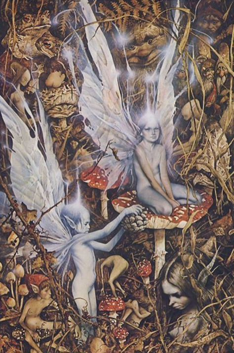 "If you believe that there is more to the woods than just trees and leaves, then this Fairy art poster is for you! An illustration by Brian Froud and Alan Lee, both well-known British friends of the ""l Más Alan Lee, Brian Froud, Woodland Creatures, Magical Creatures, Fantasy Creatures, Creature Fantasy, Elves And Fairies, The Dark Crystal, Foto Art"