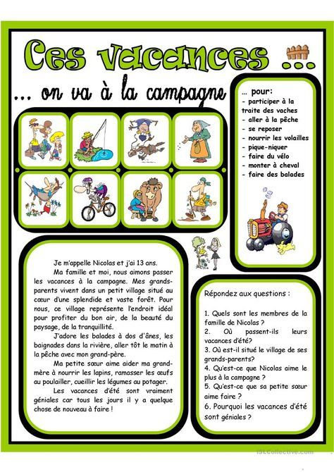 Ces Vacances On Va A La Campagne 2 Fiches Pedagogiques France Fle