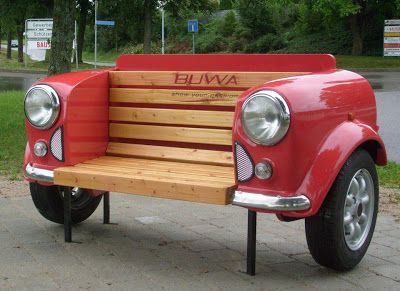 Car Bench for the garden - there is no limit to the possibilities for upcycling inspiration!