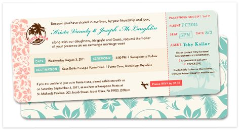 Airline Ticket Invitations, Great for a cost effect destination - airline ticket invitation