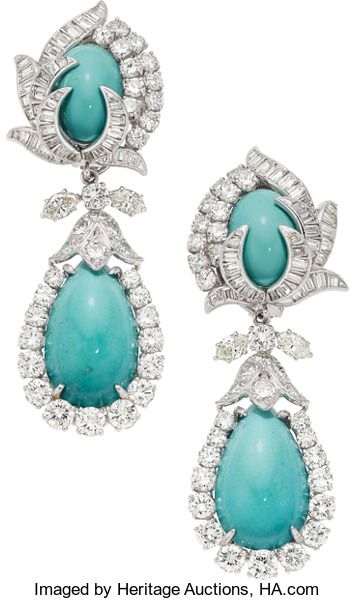 Estate Jewelry Earrings Turquoise Diamond Platinum Earrings