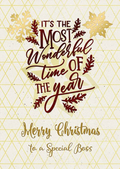 Merry Christmas To A Special Boss Wonderful Time Of The Year Word