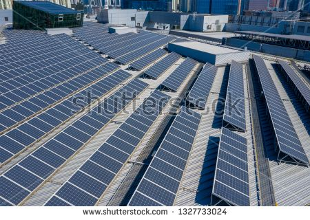 Stock Photo Top View Of Solar Panel Solar Panels Skyscraper Top View