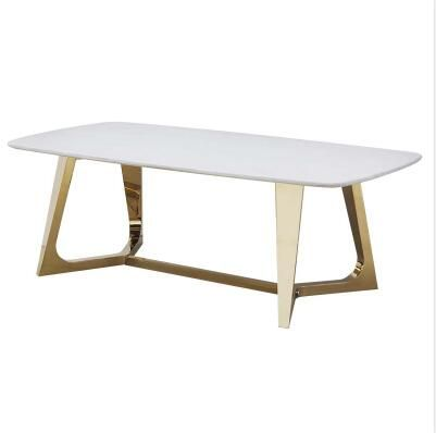 Coffee Table Stainless Steel Champagne Gold Paper Marble Table