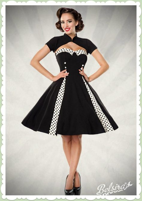 8aaf0108 Belsira 50er Jahre Rockabilly Petticoat Kleid - Isabella - Schwarz Weiß |  Womens fashion | Dresses, Retro vintage dresses, Fashion