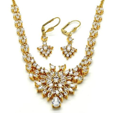 d26c18e22c06 Teardrop Set Necklace and Earring Gold Layered Gold Plated Gold Filled  Milanus Jewelry 06.236.0009