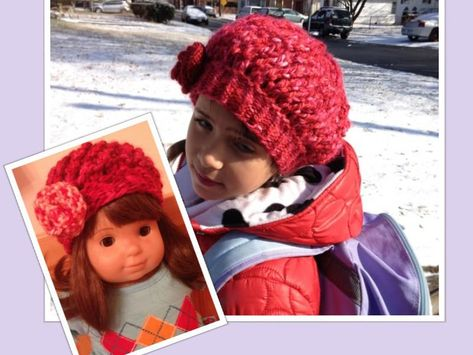 """a cute hat """"strawberry twirl"""" and a matching AG bitty baby hat.  Any girl would love to have these hats.  Get free pattern at; http://www.to-knit-knitting-stitches.com/easy-knitting-pattern.html."""