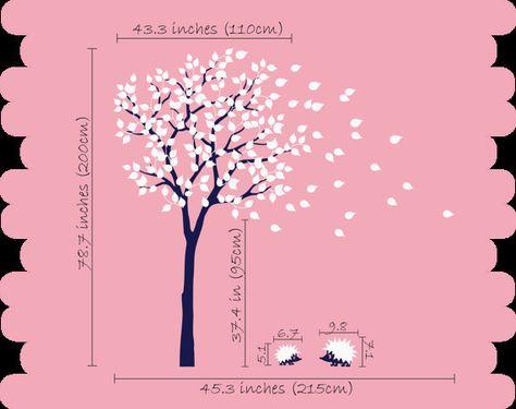 Kwekerij boom muur sticker met egels en bladeren door StudioQuee