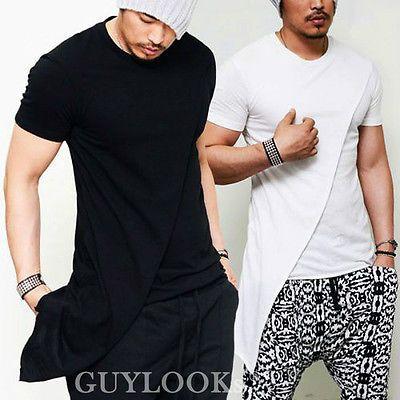 b2cbb4f05ff3d5 Avant-garde Design Unbalance Cut Mens Long Sleeve Round Crew T-shirt Tee  Guylook in T-Shirts
